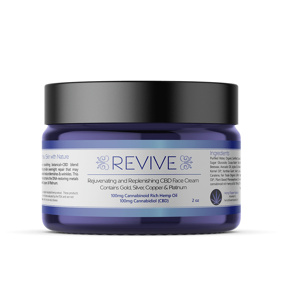 REVIVE Cannabis Hemp CBD Face Cream for Sales with Gold Platinum Copper Essential Minerals for sale by hemp flower naturals